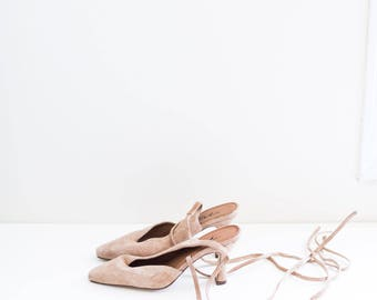 lace up ballet dress shoes - light brown suede leather heel mules - women's size 6