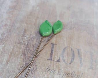 2 clous en verre de Murano filé à la flamme, feuilles vert , SAHP17