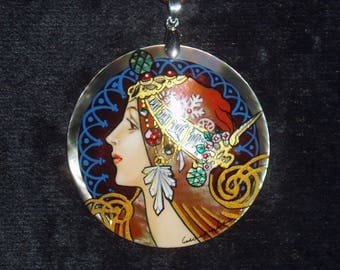 Handpainted mother of pearl Necklace Zodiac by A.Mucha ART NOUVEAU Pendant