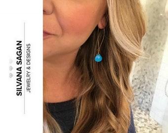 Turquoise Earrings, Turquoise Hoop Earrings, Turquoise Hoop Earrings in Gold or Silver, Turquoise Hoop Earrings Reconstituted Turquoise Hoop