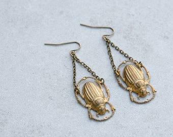 Fancy Dangle Brass Scarab Drop Earrings //Beetle Earring // Insect Jewelry // Summer Jewelry // Gift for Her // Festival Wear // Dangle