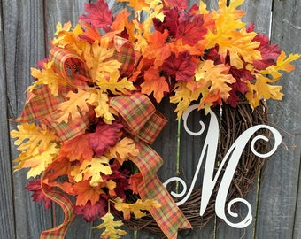 Fall Leaves Wreath, Wreath for Door, Front Door Fall Wreath with Plaid, Fall Wreath with Monogram For Door Wedding Halloween Thanksgiving