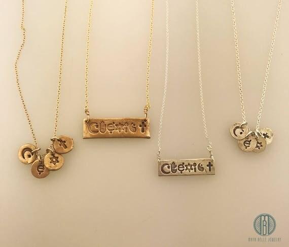 Coexist necklace coexist bar necklace coexist charm unity like this item aloadofball Images