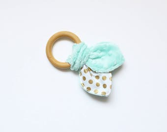 Wooden teething ring, teething ring, wooden teether, krinkle toy, baby shower gift, gift for baby, gold and mint, krinkle - ready to ship
