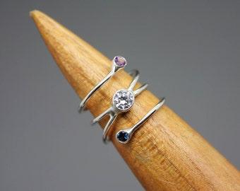 Birthstone Ring, Gemstone Ring, Silver Gemstone Jewelry, Mom Ring, Gemstone Jewelry, Birthstone Jewelry, Mom And Baby Jewelry, Family Ring