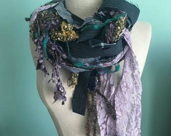 """Hand Woven Spring Scarf Wrap - Plaid,Pinstripe,Lace,Yarn,Vintage Trim, Fabric - Purple,Green,Navy - """"Lilacs and Plaid"""""""