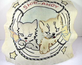 Vintage NAUTICAL KITTY PILLOWCOVER Whimsical EMBROiDERED Cotton Pillow Slip Cover