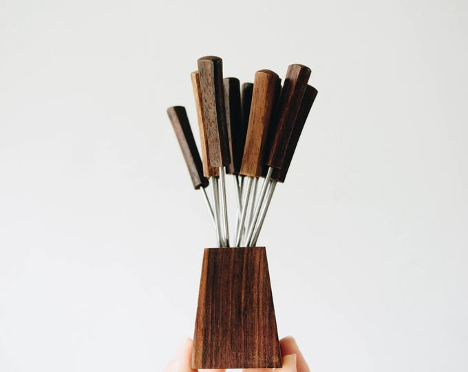 Vintage Wood Cocktail Pick Set // 1970s Fondue // Mid Century Party // Olive Picks // Cheese Tray // Bar Carts
