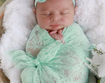 Mint stretch lace wrap AND/OR matching floral headband for newborn photos, baby swaddle, bebe, foto, hairband, infant, Lil Miss Sweet Pea
