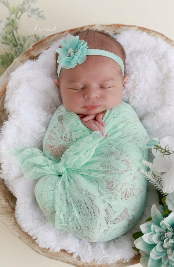 Mint stretch kace wrap AND/OR matching floral headband for newborn photos, baby swaddle, bebe, foto, hairband, infant, Lil Miss Sweet Pea