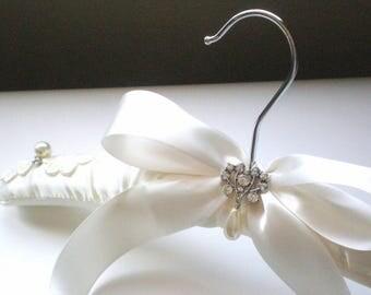 Padded Ivory Satin Bridal Hanger. Rhinestone Button & Pearl Drop. Shower GIFT Chic Grande Bows. Rhinestone Dress Guards. Bride Maids. Prom.