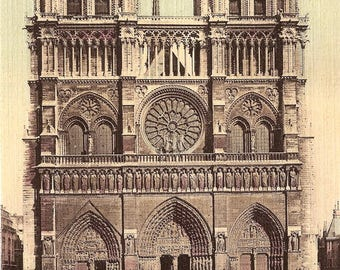 Notre Dame Cathedral Paris France Antique French Postcard from Vintage Paper Attic