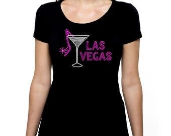 Las Vegas Shoe Martini RHINESTONE t-shirt tank top  - S M L XL 2XL - Bling Gambling Casino Nevada Craps Trip Vacation High Heel
