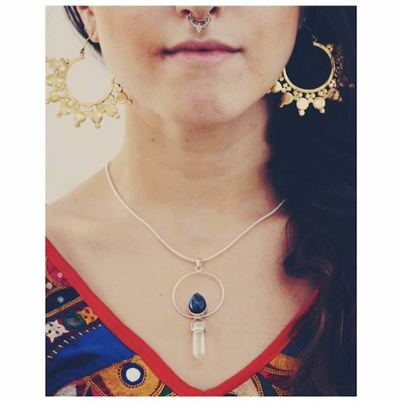 LABRADORITE & QUARTZ NECKLACE - Sterling Silver Necklace - Quartz Necklace - Spiritual - Chakra Jewellery - Statement Necklace - Vintage