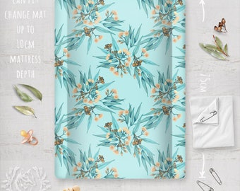 Change Mat Cover/ Australian Native Blue & Peach Flowering Eucalyptus. Linen Cotton Fabric by Thistle and Fox | Ships in 4-5 wks
