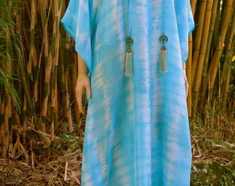 Tree of life Silk Kaftan with Ocean Colors, Cover up, Summer Dress, Silkz design