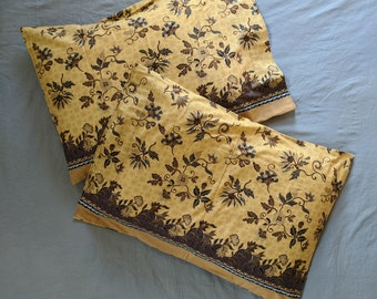 """Sarong Pillowcase Set - Browns and Yellow Floral - Standard Size - Cotton - 20 x 29.5"""""""