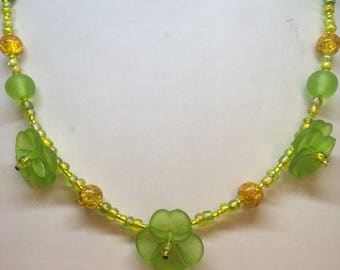 Lime Green & Yellow Pansy Flower Necklace Handmade Necklace-Gifts for women-Gifts for her-Ladies Jewellery-Ladies gifts handmade jewellery
