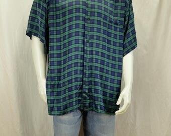Button down silk shirt  90s mens clothing Vintage green blue plaid print short sleeve shirt Retro casual button shirt Patterned summer shirt