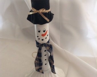 Snowman Electric Candle