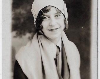 Old Photo Teen Girl Portrait wearing Cloche Hat Coat Scarf 1920s Photograph Snapshot vintage