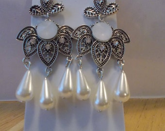 Silver Tone Post/Stud Chandelier Earrings with White Teardrop Sea Shell Pearl Dangles
