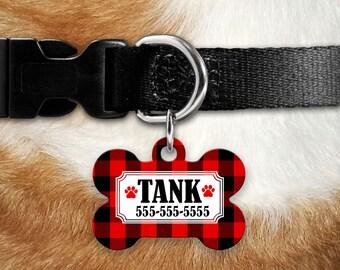 Buffalo Plaid Pet ID Tag | Dog Name Tag | Pet Name Tag | Pet ID Tag | Collar Tag | Dog Bone Pet Tag | Red and Black Plaid Tag