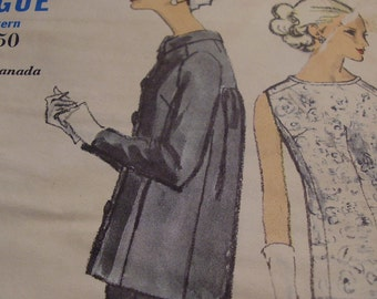 Vintage 1960's Vogue 6598 Dress and Jacket Sewing Pattern, Size 14, Bust 34