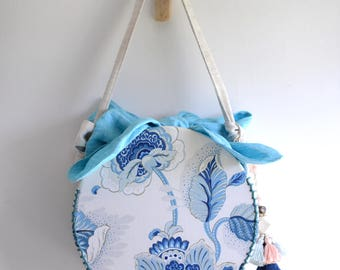 MISS B. Circle shaped top handle bag. Chinese porcelain blue and white fabric. nature flower leave print handbag. Style153BE. Ready to ship