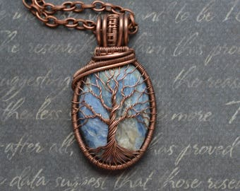 Blue Kyanite Necklace Copper Wire Tree-Of-Life Necklace Pendant Copper Jewelry Rustic Boho 7th Anniversary gift for her Zodiac Jewelry