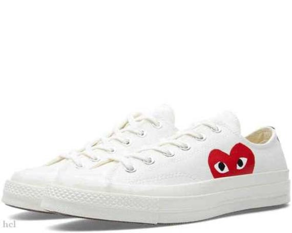 Ivory White Converse comme des garcons Play Low Top Lady Mens w/ Swarovski Crystal Rhinestone Chuck Taylor Custom All Star Sneakers Shoes