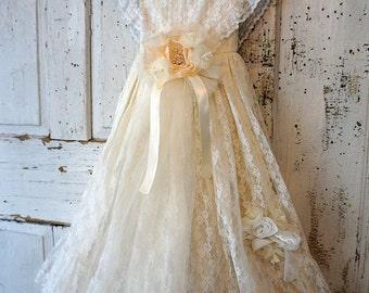Vintage lace white dress wall hanging decor shabby cottage chic handmade long girls embellished millinery home decor anita spero design