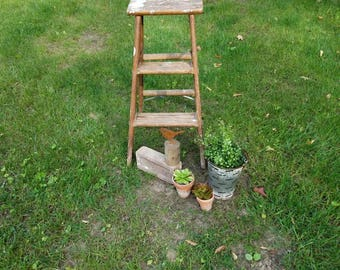 Vintage Wood Step Ladder Garden Farmhouse