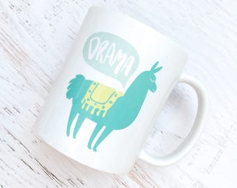 Drama Llama Ceramic Mug - 11 oz. - Blue, Aqua + Chartreuse Green -  Modern, For the Home, Apartment, Kitchen, Gift, for Her, Funny, Friend