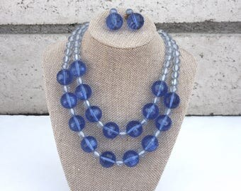 Blue Necklace & Earrings Demi Parure Set ~ Vintage Faceted Lucite Plastic Bead Double Strand and Dangle Clip ons