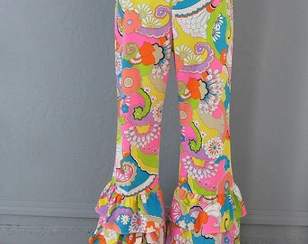 60's Rare Flower Power Bell Bottoms/Psychedelic/Flat Front/Paisley/Mid Century/Cotton Pants/Summer of Love/Music Festival Attire/Wild Child