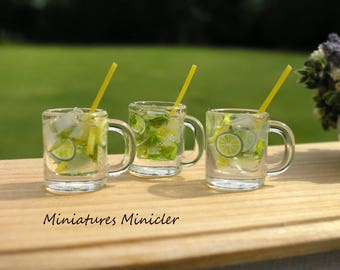 Miniature Dollhouse Mojito Summer Drink 1:12