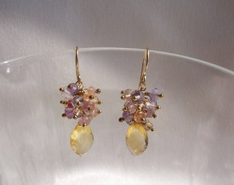"Citrine briolette with  imperial topaz tourmaline amethyst sunstone dangle earrings about 1 1/4"" total 14k gold filled  item 684"