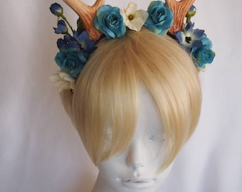 "4"" Antlers Headband with Blue and Teal Roses / Woodland Fawn Cosplay / Deer Costume / Ready to Ship"