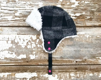 Trapper Hat Baby Black Bomber Hat Trapper Hat Fur Lumberjack Hat Plaid Toddler Winter Hat Ear Flap Hat Buffalo Plaid Hat Fur Hat Trapper Hat