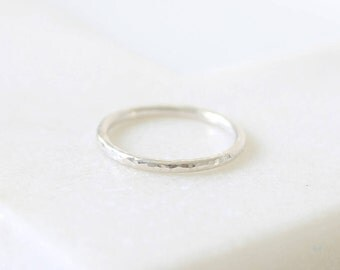 Hammered Ring • Unplated 9K White Gold