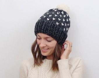 Fair Isle Knit Pom-Pom Hat Chunky Knit | THE INVERNESS