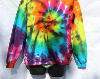 Tie Dye Sweatshirt, Adult Large Sweater, Rainbow Spiral with Black - Ready to ship