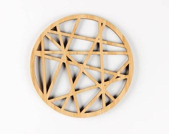 Geometric Bamboo Trivet - Wooden Lasercut Geo Pattern Hot Plate Pot Holder Tray