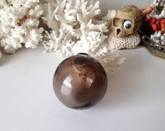 Vintage glass fishing float brown purple fish float blown glass ball display orb sphere beach cottage decor
