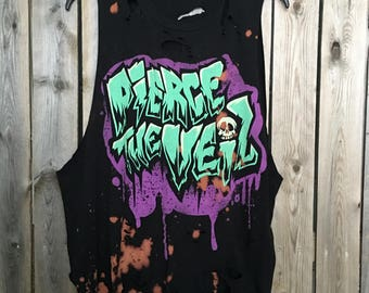 PIERCE THE VEiL, distressed , grunge , super soft Tank size large