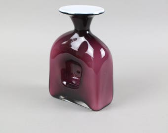 Vintage glass vase, purple vase, Mid Century Modern vase, German glass, Scandinavian glass, purple glass vase, chimney vase, burgundy vase