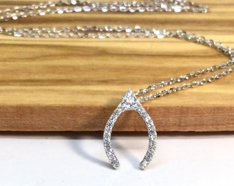 Wishbone Necklace Sterling Silver CZ Necklace Wishbone Small Charm Diamond Silver Necklace CZ Charm Good Luck Talisman Jewelry