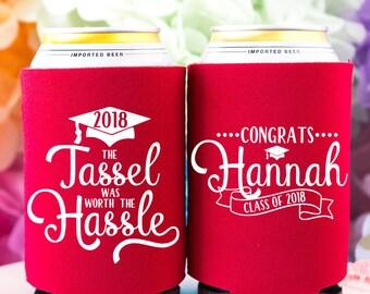 2018 Graduation Party Decorations, Graduate Party Favor, Class of 2018, Personalized Can Cooler, High School Graduation, College Graduation