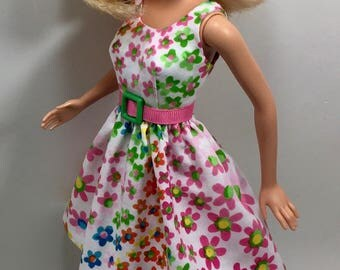 Barbie Doll Clothes - Multi-Colored Floral Print Dress for the 1999 Barbie Body - also fits Original Fashionista Barbies - 274